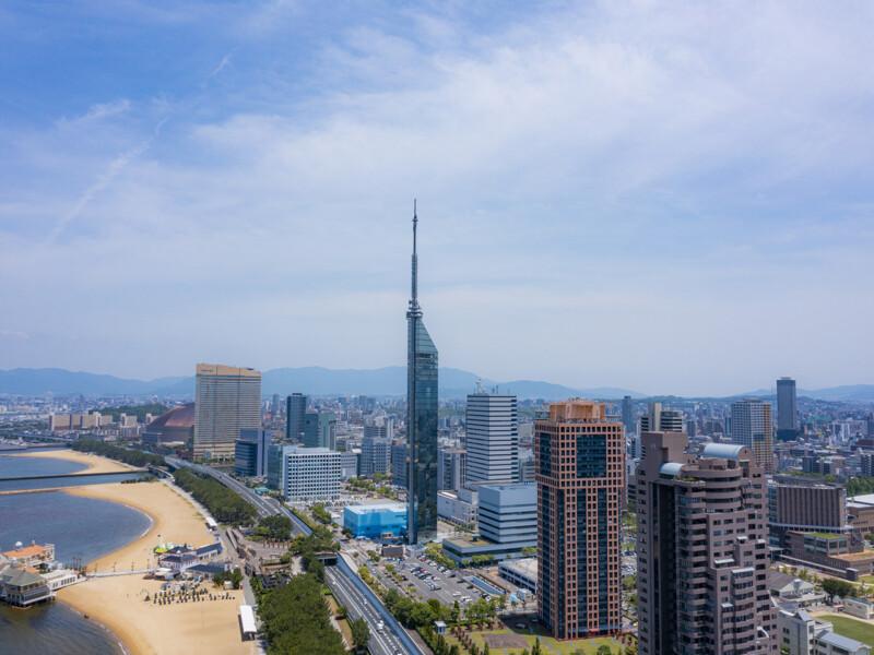 福岡タワー,ドローン写真